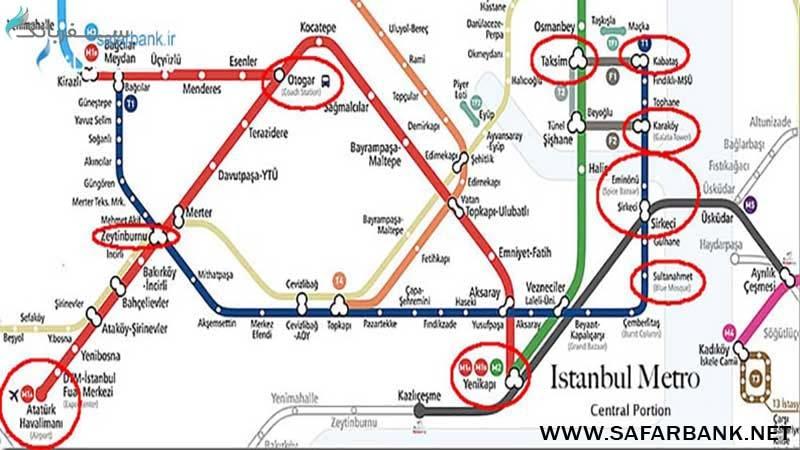 نقشه مترو شهر استانبول ترکیه