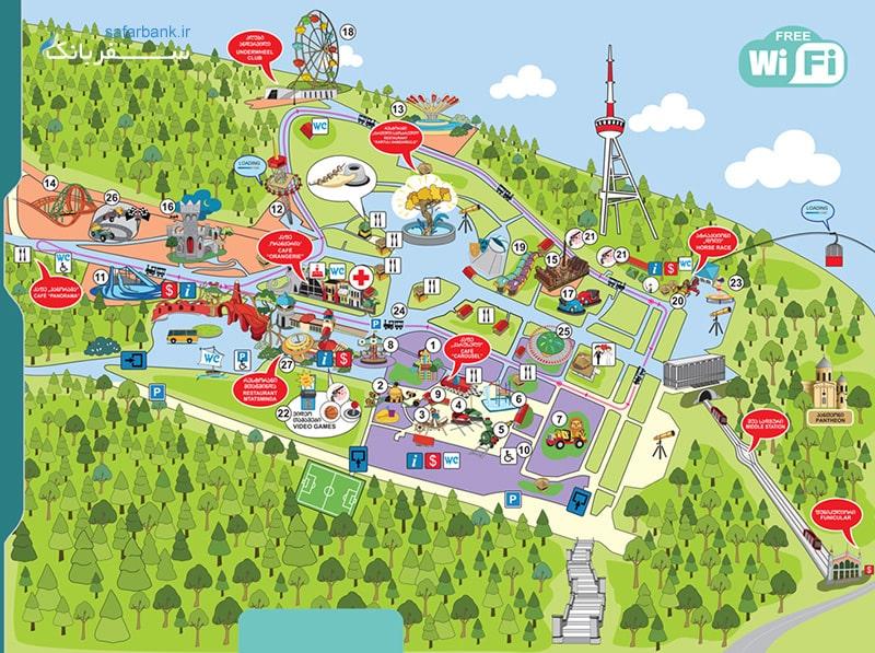 نقشه پارک و شهربازی متاتسمیندا تفلیس