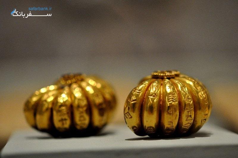 گوشواره های طلایی به شکل کدو تنبل، موزه سلیمانیه عراق