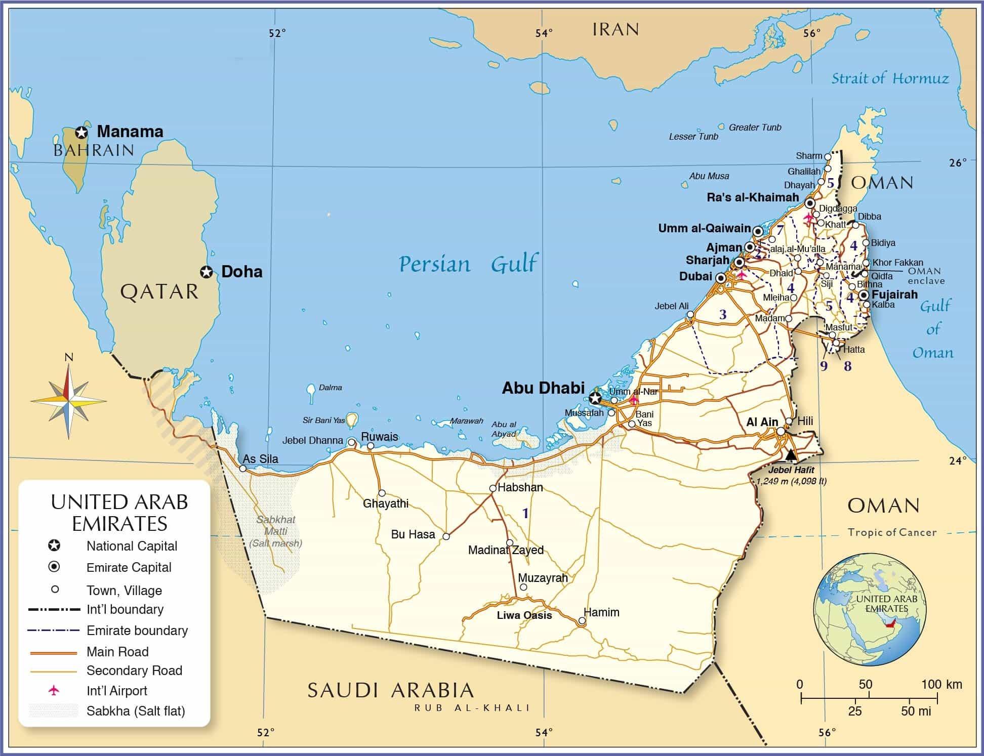 نقشه امارات متحده عربی